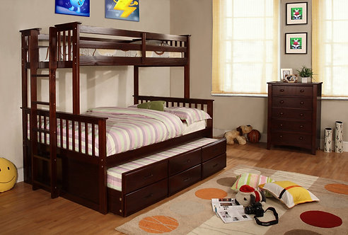 TF4582 Twin/Full Bunk Bed With Twin Trundle & Storage