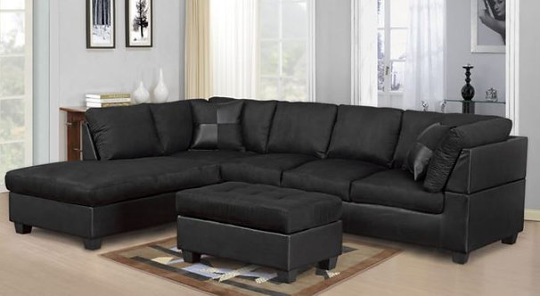 2328 Black Microfiber Sectional
