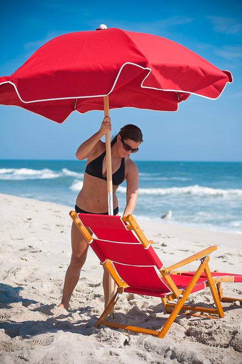 Commercial Grade 6 1/2' Acrylic Aluminum Beach Umbrella (No Tilt)