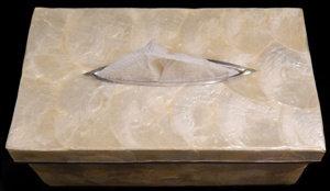 Capiz Silver Tissue Box