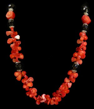 Red Coral W/Black Beads