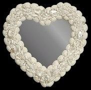 White Cockle Heart Mirror