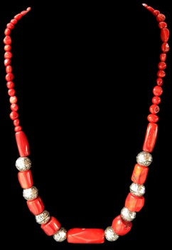 Red Coral W/Sliver Accent Beads