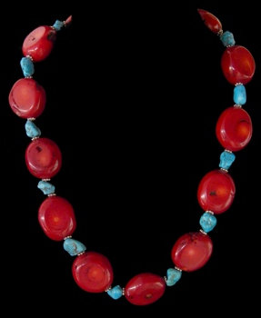 Red Coral W/Turquoise Accent