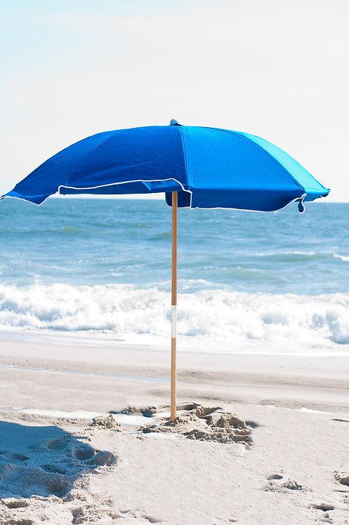 Commercial Grade 7 1/2' Fiberglass Acrylic Beach Umbrella with Wood Center Pole
