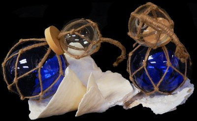 Clear & Blue Glass Floats (EA)