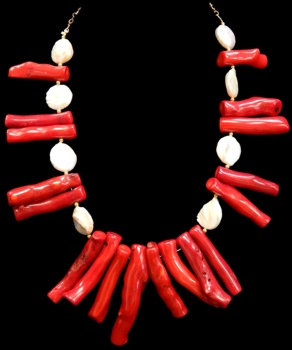 Red Coral Branch W/Fresh Water Pearls