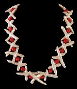 Freshwater Pearl Cross W/Red Coral