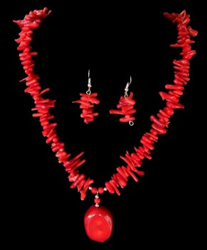 Red Coral Branch Nugget Set