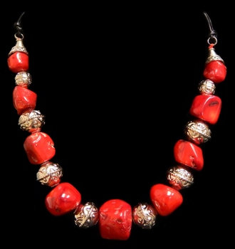 Red Coral Chunks W/Silver Accent