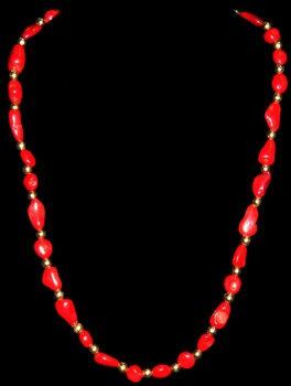 Red Coral W/Gold Beads