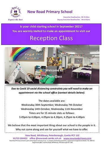 Reception Visits - September 2021 Intake