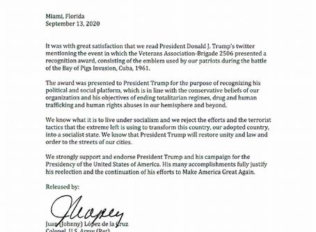 Bay of Pigs Veterans Association Trump 2020 Presidency Endorsement