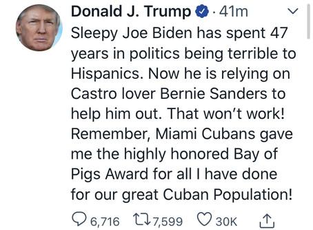 President Trump's Bay of Pigs endorsement Tweet