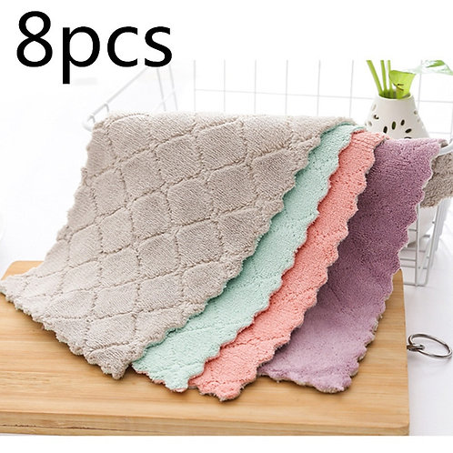 8pcs Household Super Absorbent Microfiber Towel