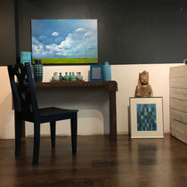 Landscape, Chair, Vases, Buddha, & Abstract