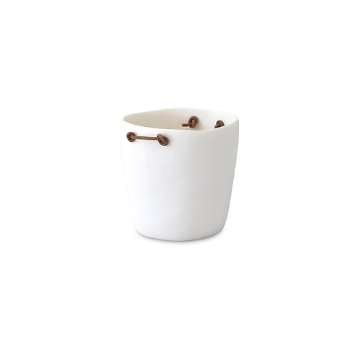 Champagne Bucket With Leather Handles (White)