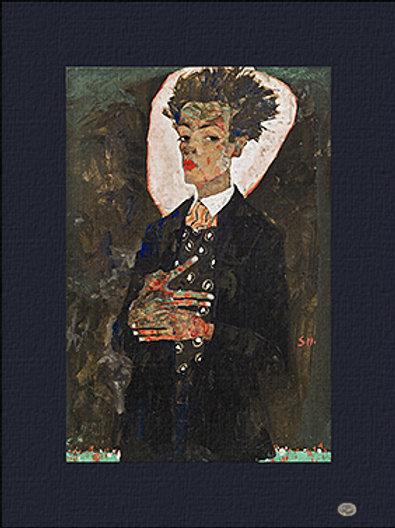 """Self-Portrait with Peacoch Waistcoat"" 1911 Egon Shieli"