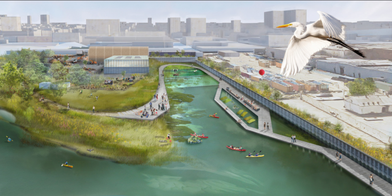 Gowanus Lowlands Vision. Rendering via Gowanus Canal Conservancy and SCAPE Landscape Architecture DPC
