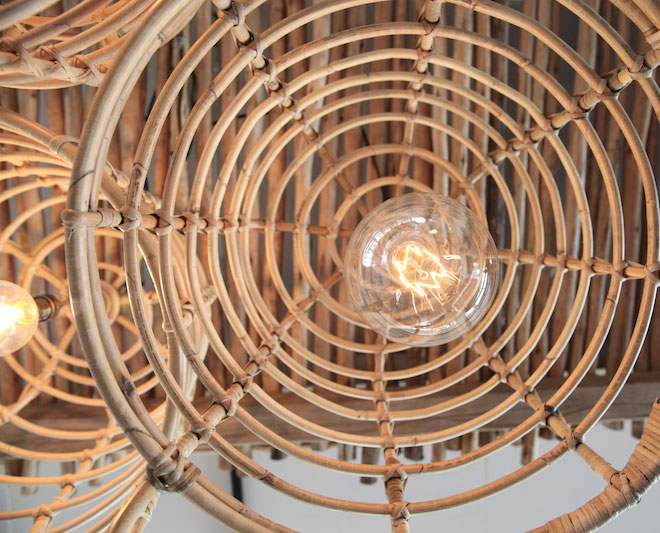 cane basket lights Dreamers & Drifters retail boutique retail fit interior design byron bay