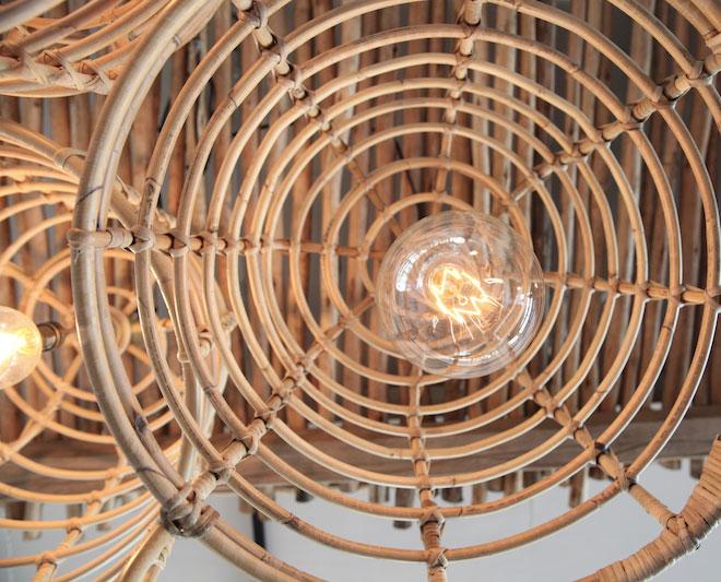 cane basket lights Dreamers & Drifters retail boutique retail fit interior design byron bay