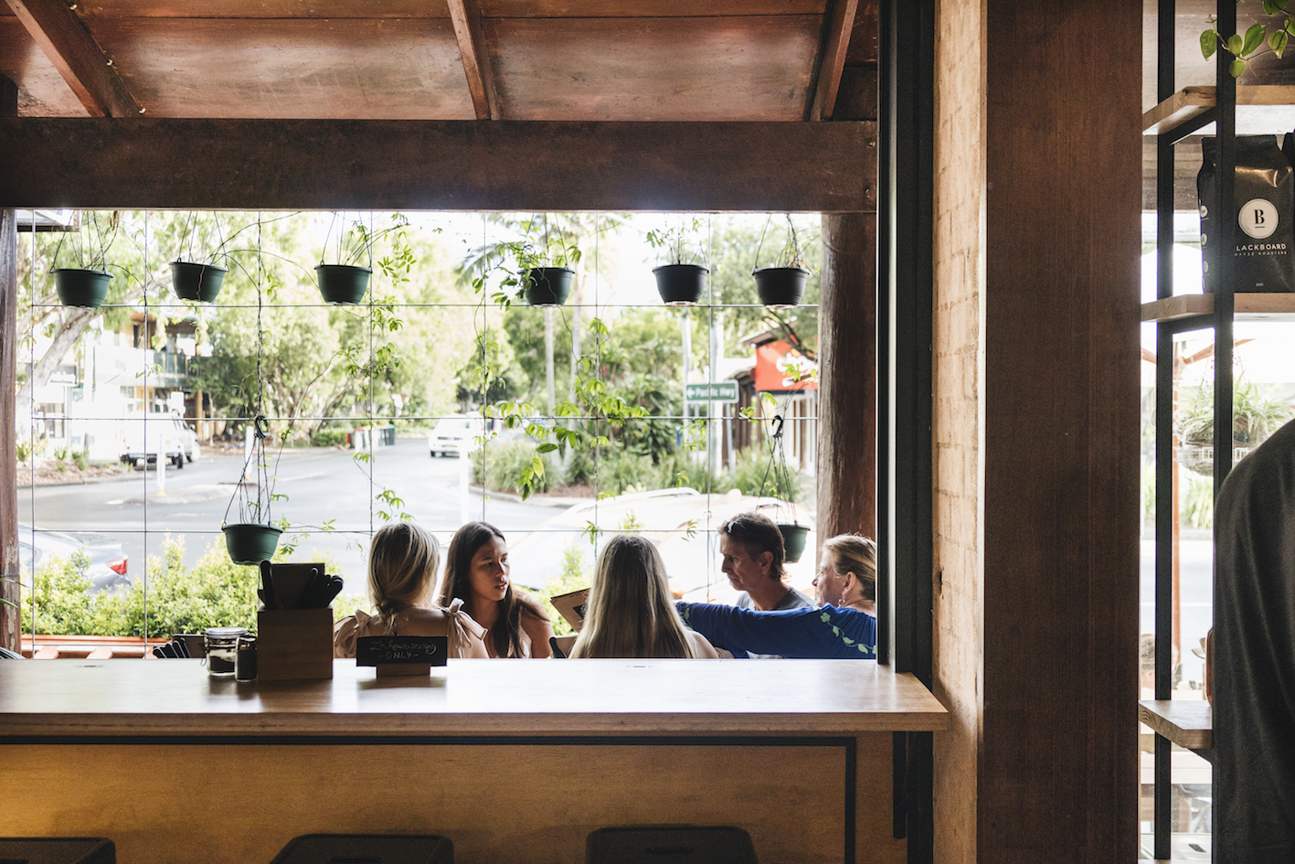 Bay leaf cafe hospitality fit out byron bay bench