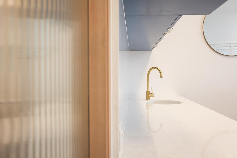 Kitchen details | Brass Mixer | Jones Accountants Lennox Head | Office | Interior Design | whitewood