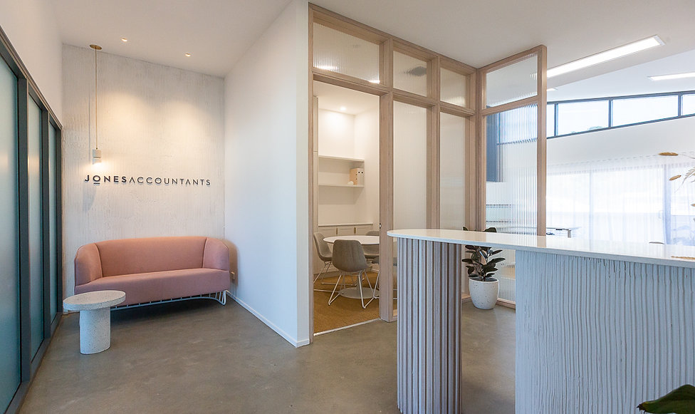Reception area | Jones Accountants Lennox Head | Office | Interior Design | whitewood agency