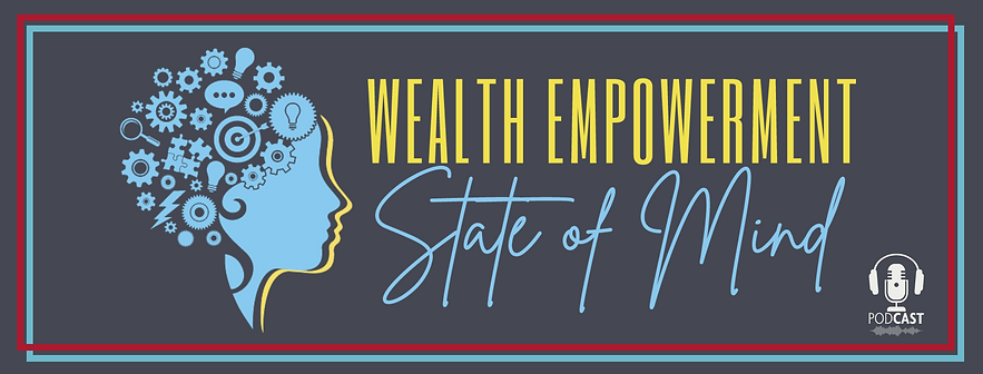 Wealth Empowerment State of Mind logo, profile of two women with various icons making up her head.