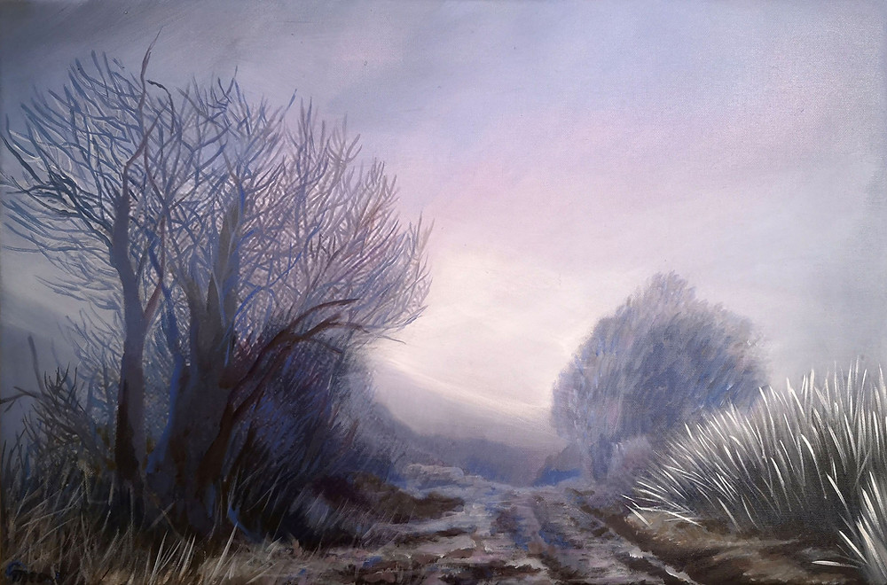 """Foggy Morning"", oil/canvas, 40x60cm/16""x23"""