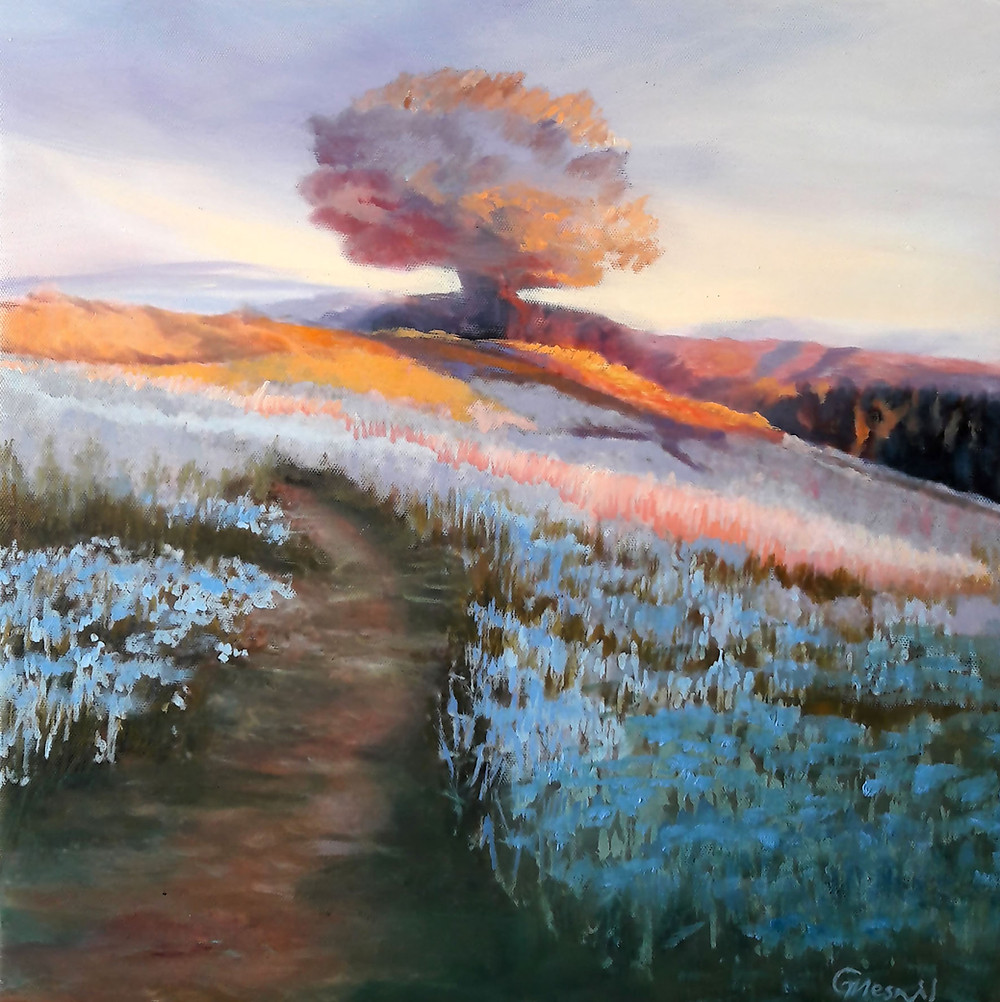 """Golden Hills Of Killarney"", oil/canvas, 40x40cm/16""x16"""