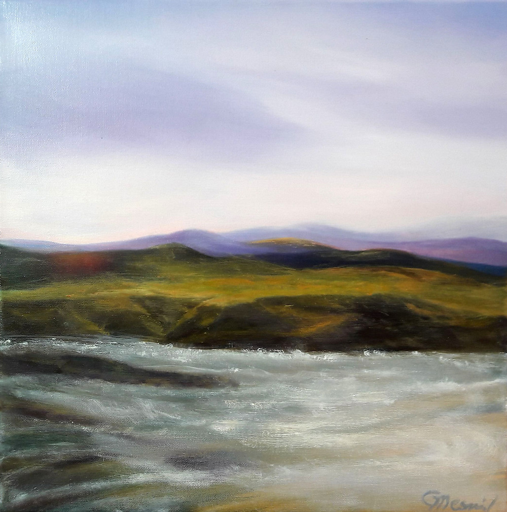 River Sunrise, oil/canvas, 40x40cm/16''x16''