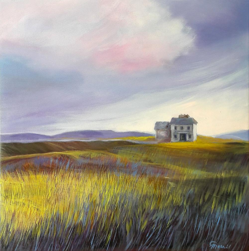 "House On The Cliff, oil/canvas, 40x40cm/16""x16"""
