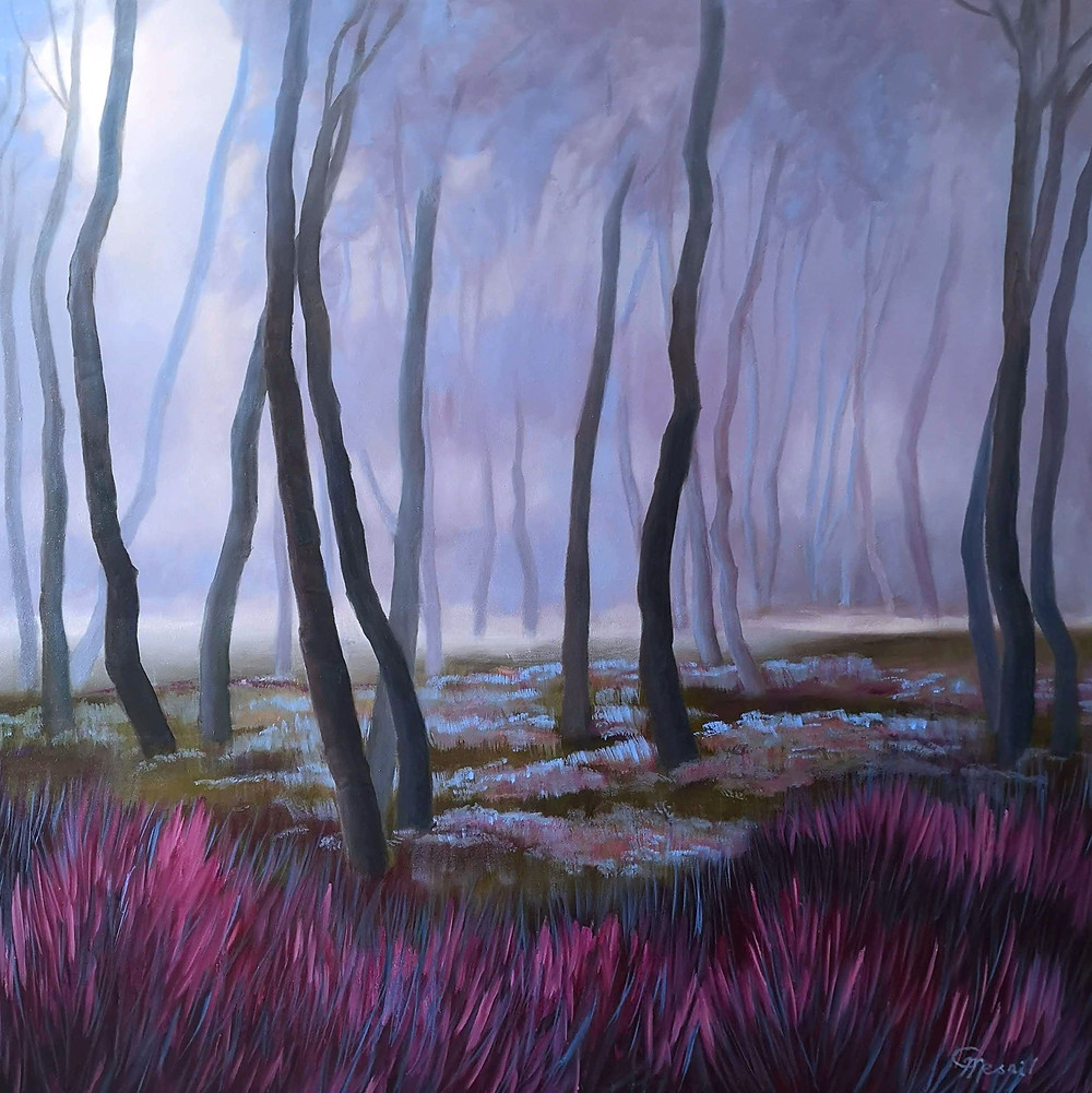 Morning Walk In The Forest, 2019, oil/canvas, 140x140cm