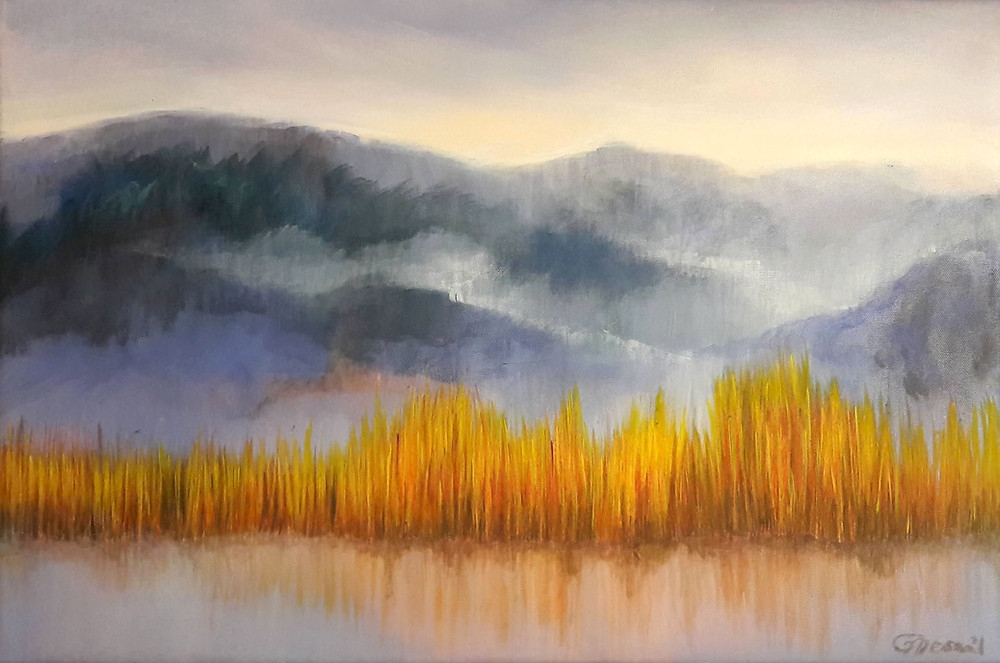 """Fog Clearing"", 2020, oil/canvas, 40x60cm/16""x23"""