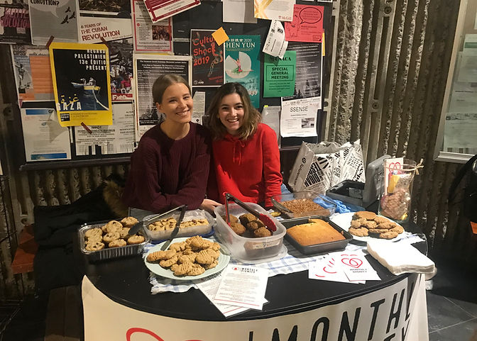 2019-2020 Head of Volunteers Mikaela Mailly and VP External Maddie Coombs pictured at McGill bake sale