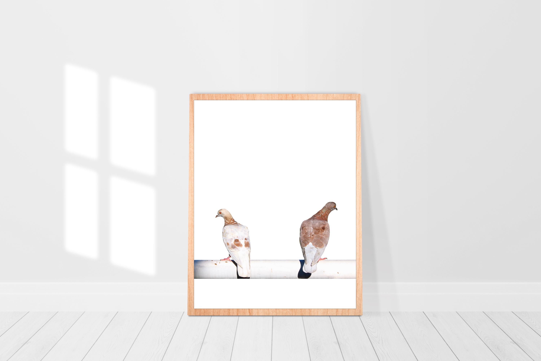 pigeon Wooden Frame Poster Mockup 3