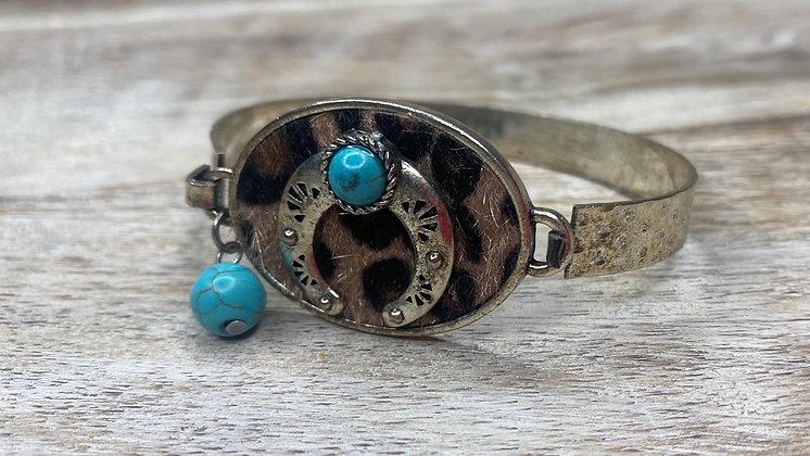 Turquoise & Cheetah Bracelet
