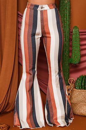 Retro Stripe Flare Pants