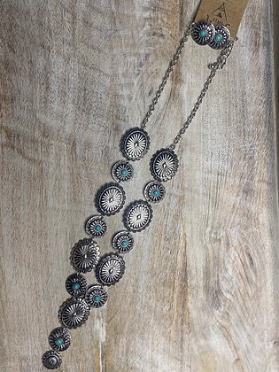 Silver & Turquoise Necklace & Earring Set