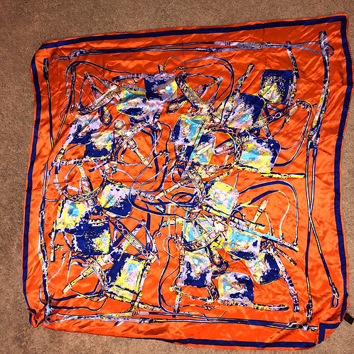 "Tangerine Fashion Head Scarf ""Coach Inspired"""