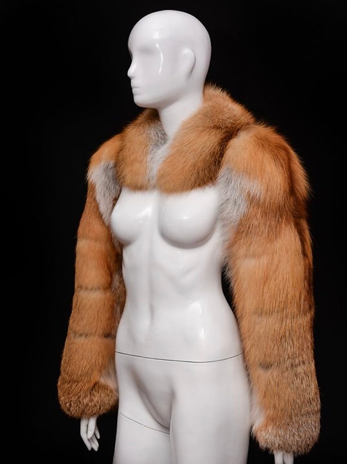 Foxy Genuine Red Fox Fur Arm Warmers Sleeves + Scarf