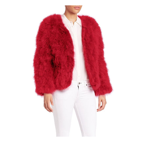 """Red Ostrich Turkey Feathers Fur Coat """"SOLDOUT"""""""