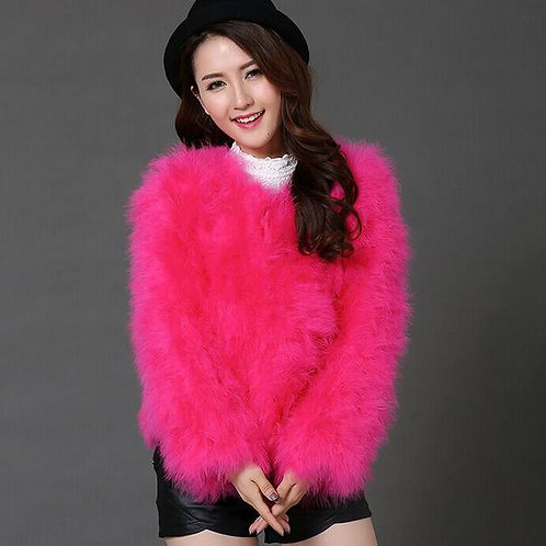 """Real Ostrich Turkey Feathers Fur Coat """"SOLDOUT"""""""