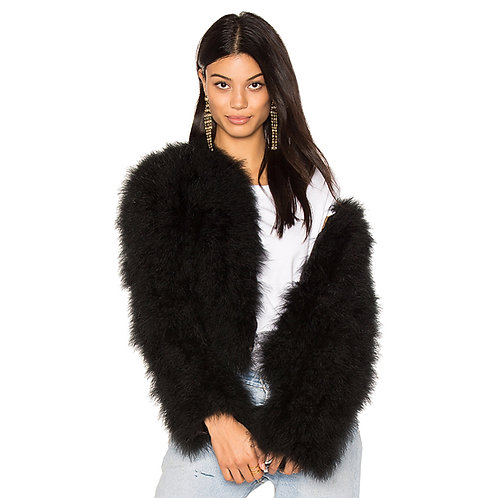 "Black Ostrich Turkey Feathers Fur Coat ""SOLDOUT"""