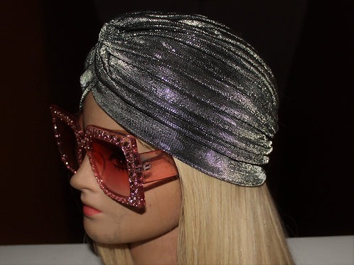 Metallic Silver Turban