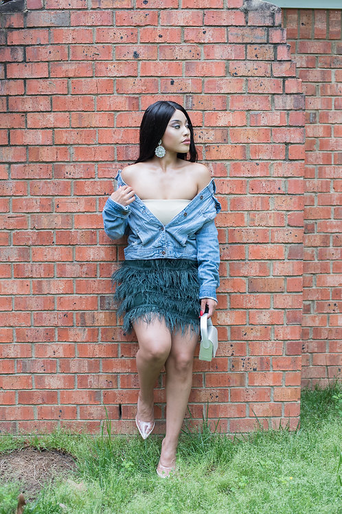 "Green Feather Skirt ""SOLDOUT"""