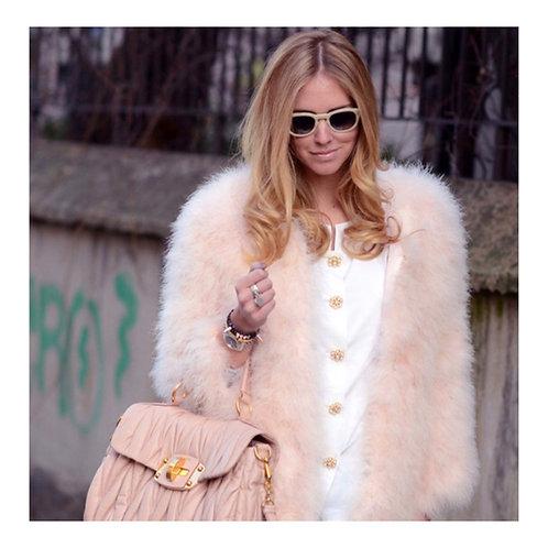 Beige Ostrich Turkey Feathers Fur Coat
