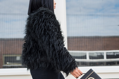 Long hair shaggy trend faux fur coat