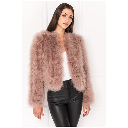 Brown Ostrich Turkey Feathers Fur Coat